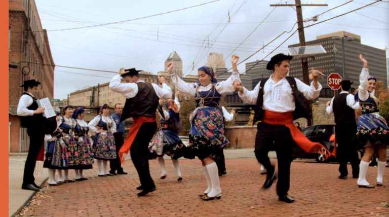 people in cultural clothing dancing in Ironbound
