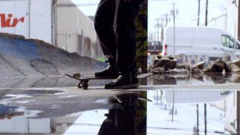 Tommy Cuba's feet and skateboard