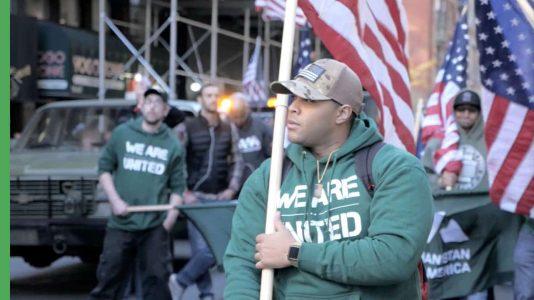 American veteran with American flag